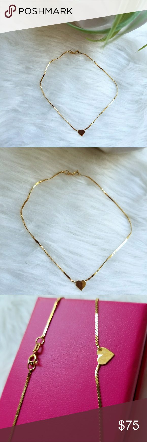 anklet heart yellow htm ankle bracelets product bracelet tiny gold p