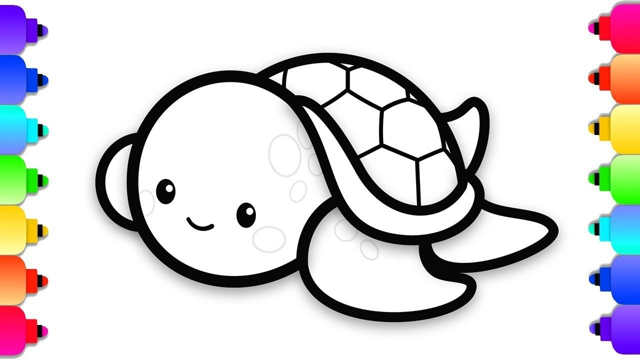 How To Draw A Baby Sea Turtle Easy Step By Step For Kids Cute