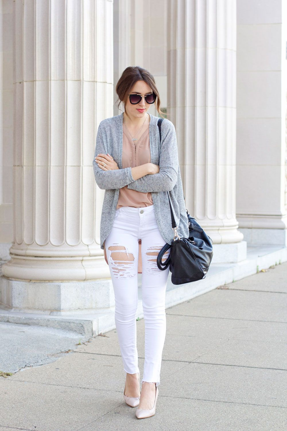 white-ripped-jeans,-tan-shirt,-grey-cardigan | Fashion Inspiration ...