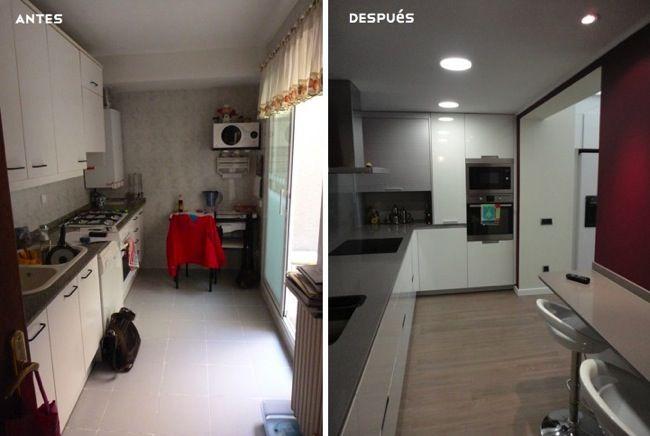 Antes Y Despues Integrando El Patio Interior En La Cocina