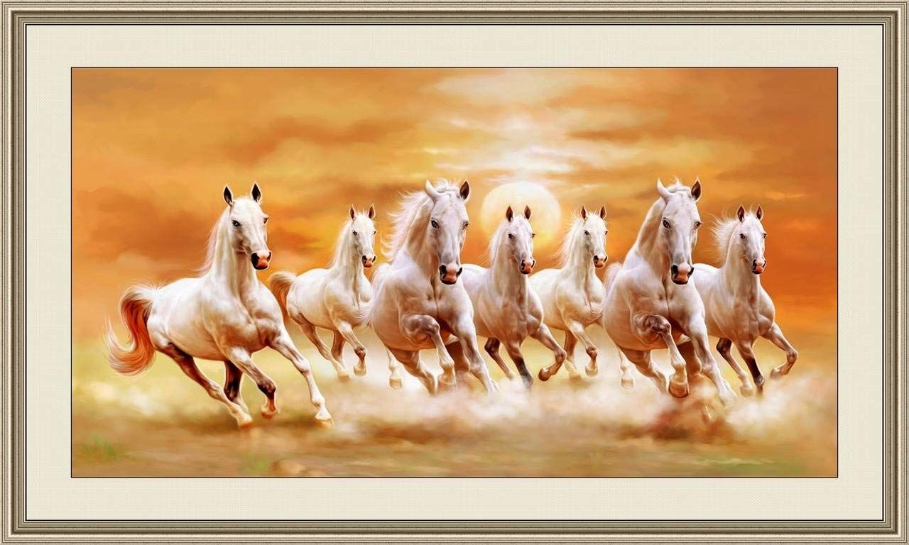 Shine India Large Size 7 Horse In Right Direction Painting As Per Vastu With Frame Amazon In Home Horse Canvas Painting Horse Oil Painting Horse Painting