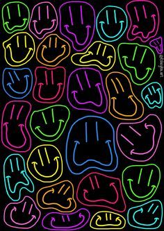 Neon Smileys Sticker Poster