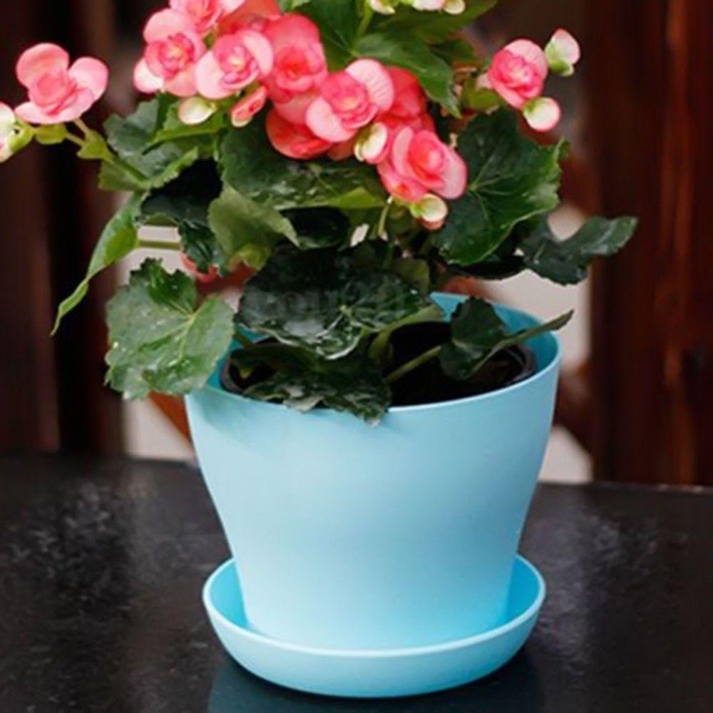 1 55 4 Color Plastic Plant Flower Pot Gloss Planter Saucer Tray
