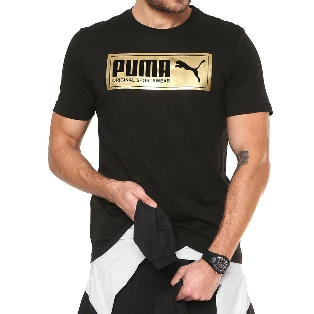 Agricultura soplo enchufe  Shop Puma Gold Plate Brand Graphic Tee Black online – West Brothers   Puma  store, Black tee, Puma original