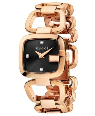 9125c459554 Women s Swiss G-Gucci Diamond Accent Pink Gold-Tone PVD Stainless ...