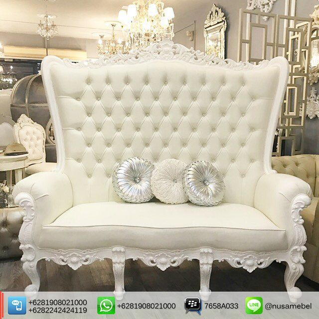 wedding sofa black rattan outdoor corner white 3 seater dominique is a with format in duco finish that made from solid mahogany wood