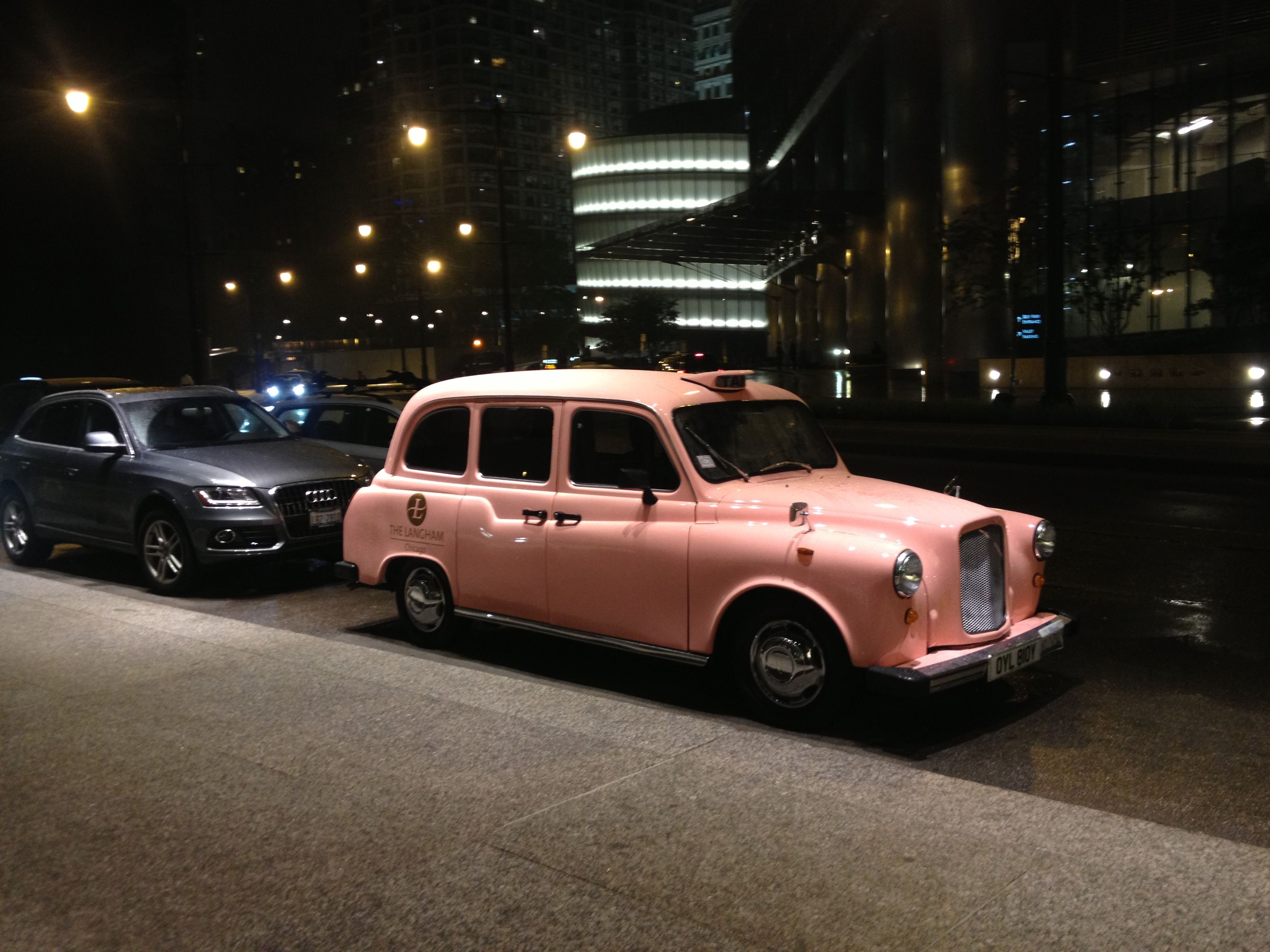 Beautiful Pink Taxi    House Car At The Langham, Chicago.