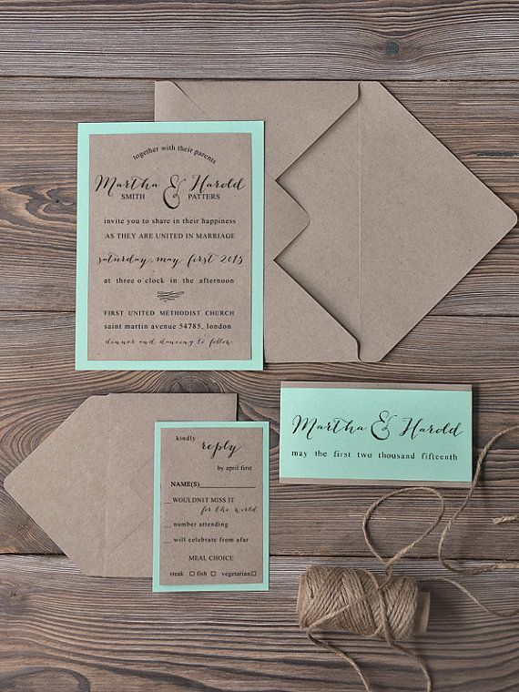 Custom Listing 100 Invitations Rustic Wedding Invitation Recycling Eco Mint Modern Calligraphy All Our
