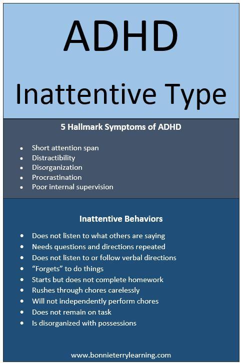 Adhd Inattentive Type Adhd Pinterest Adhd Adhd Inattentive