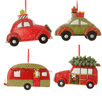 RAZ Vintage Automobile Christmas Ornament Set of 4 Assorted vintage style automobile  ornaments Set includes one of each style Camper, Station Wagon, ... - RAZ Vintage Automobile Christmas Ornament Set Of 4 Assorted Vintage