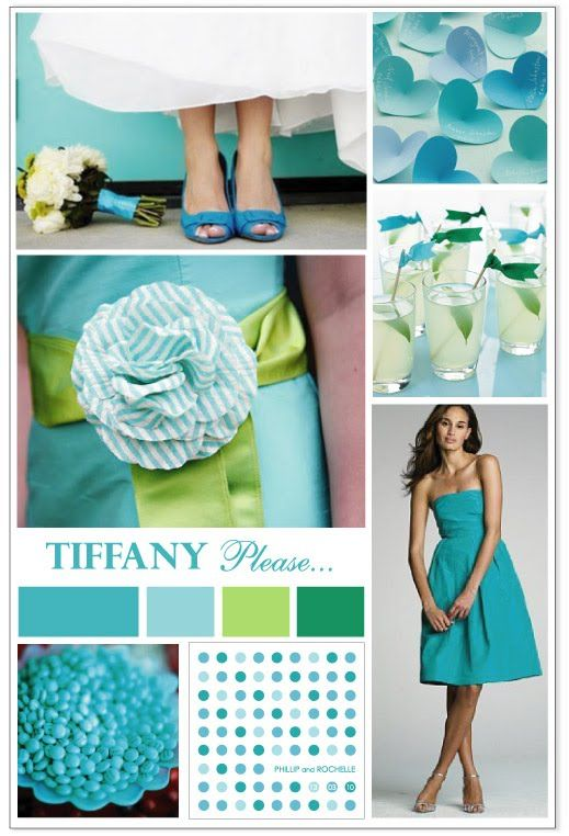 Tiffany blue wedding inspiration board...Never thought about using green with it?  *Julie*