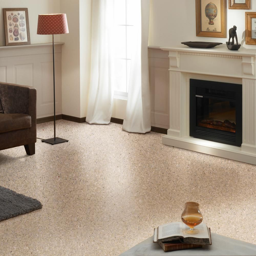1 99 X Sqft Light Tone Shell Cork Flooring Home Depot