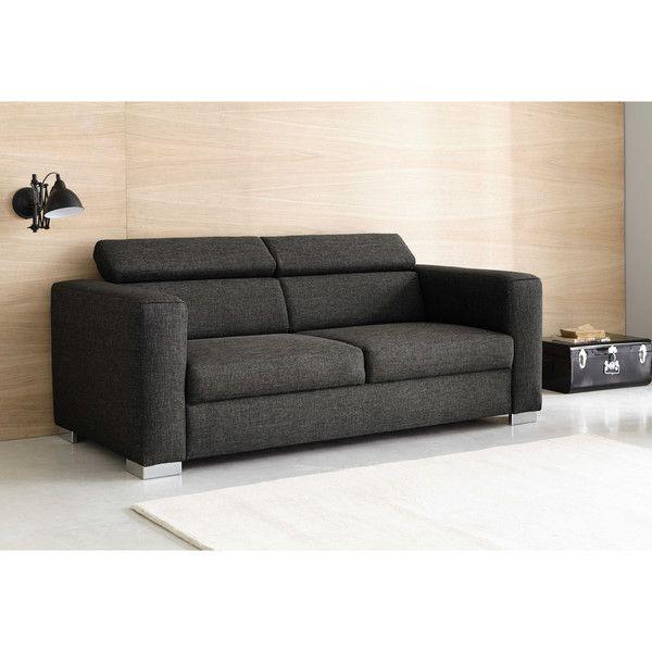 Canapé 3 places en tissu gris chiné