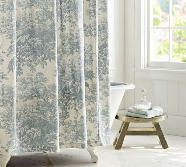 French Country Shower Curtains Traditional Shower Curtains By Pottery Barn Traditional Shower Curtains Toile Curtains Country Style Bathrooms