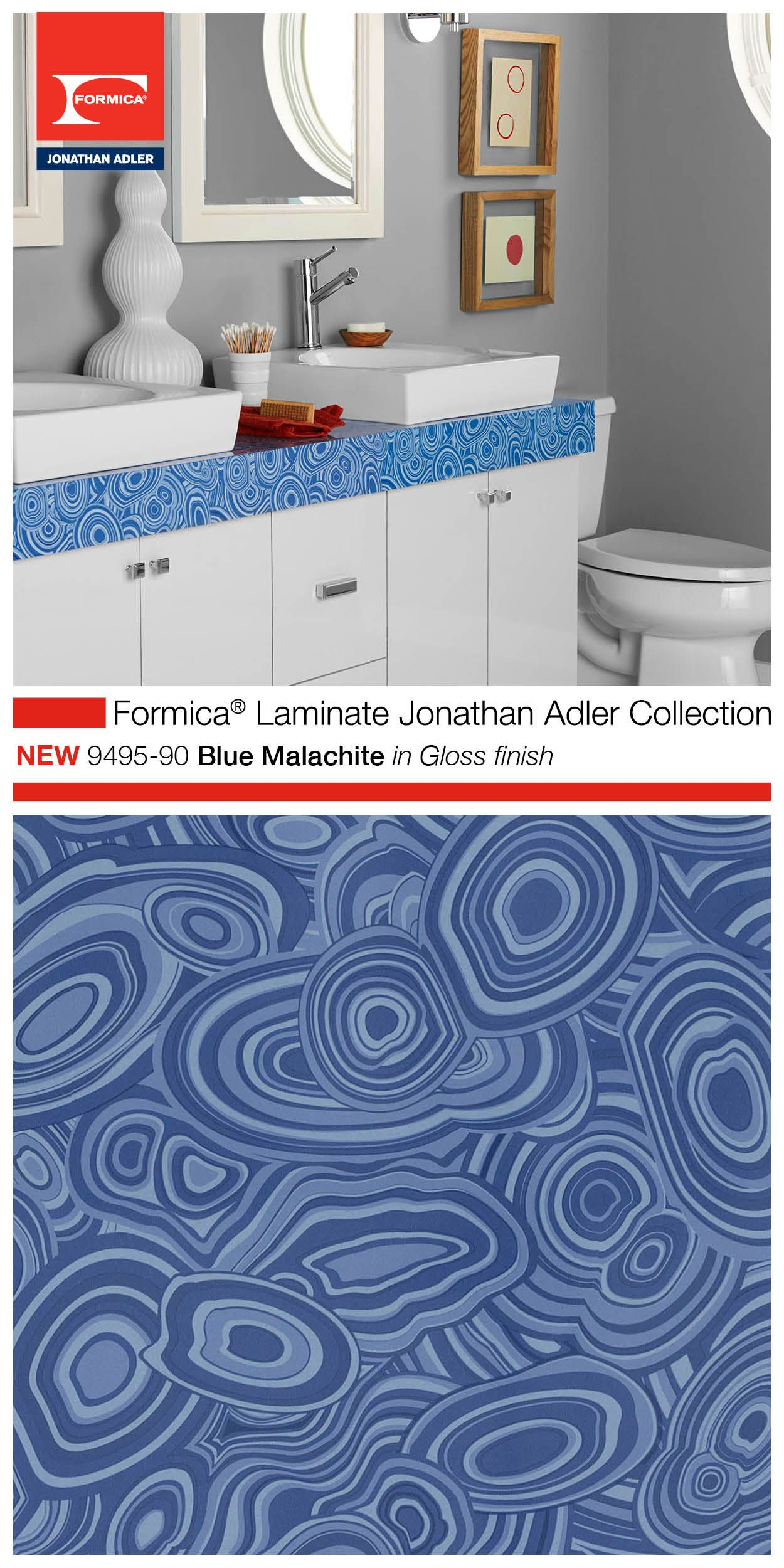 The Highly Aned Formica Laminate Jonathan Adler Collection 9495 90 Blue Malachite In Gloss Finish Looks Great As Part Of A Bathroom Vanity Or Bar