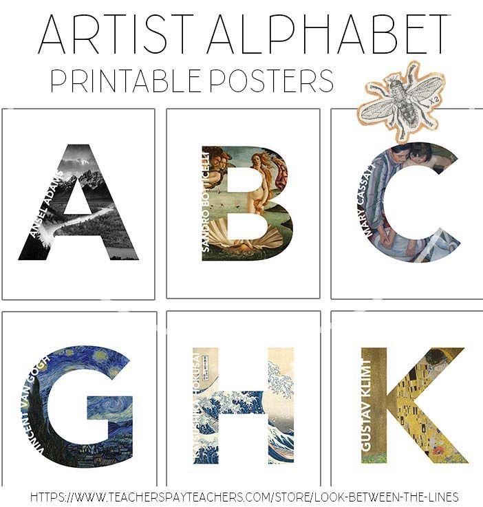 Artist Alphabet Letters, Printable Poster Pack: 26 Letters ...