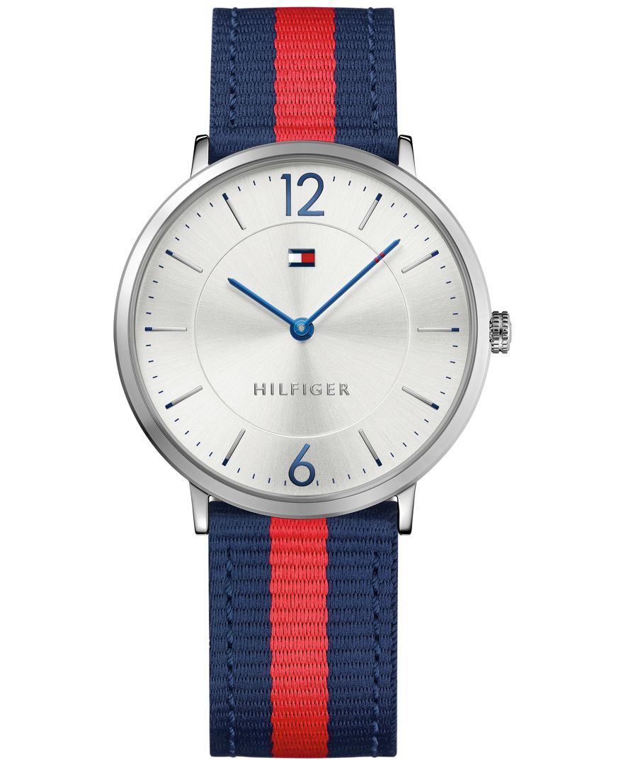 f81e17aa7a84 Tommy Hilfiger Men s Casual Sport Slim Navy and Red Striped Nylon Strap  Watch 40mm 1791328