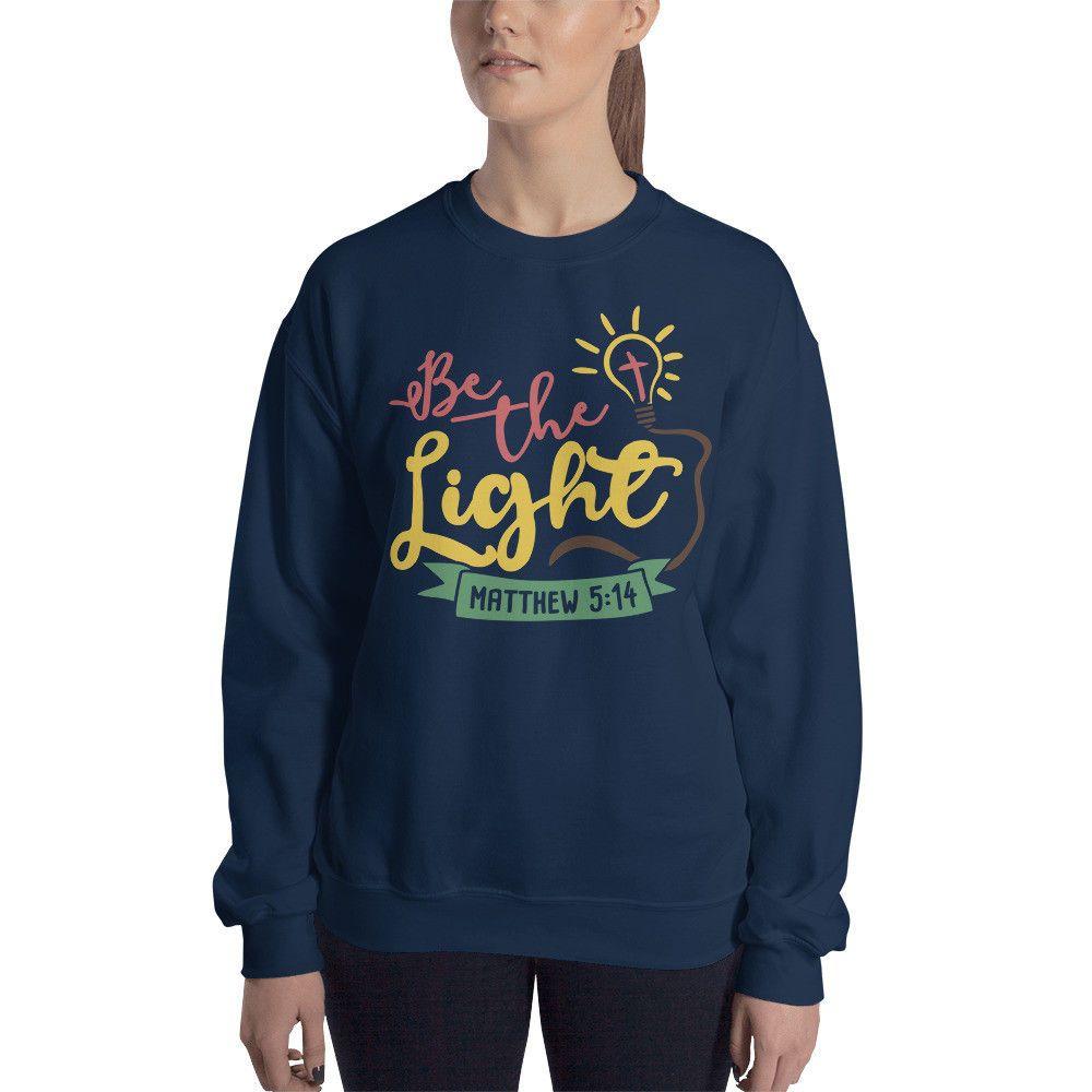 6a2a8797c Be The Light Matthew 5 14 Christian Sweatshirt  fashion  clothing  shoes