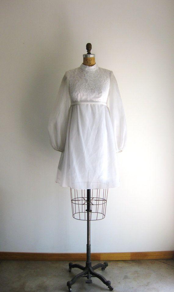 Vintage 1960s Mod 60s Wedding Dress White Lace Chiffon Etsy Wedding Dresses 60s Short Wedding Dress White Lace Wedding Dress
