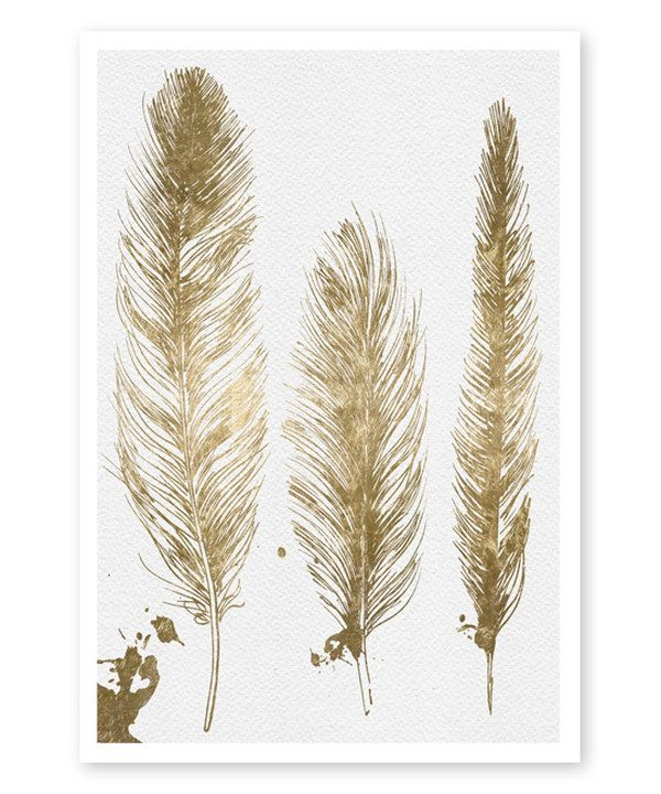 Look at this Oliver Gal Gold Feathers Wall Art on #zulily today!