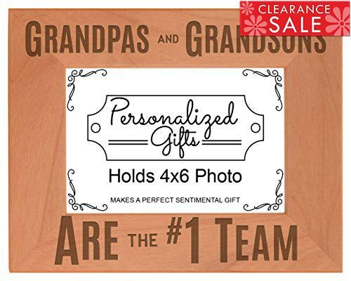 Grandpa Gifts Grandpas Grandsons are #1 Team Natural Wood Engraved ...