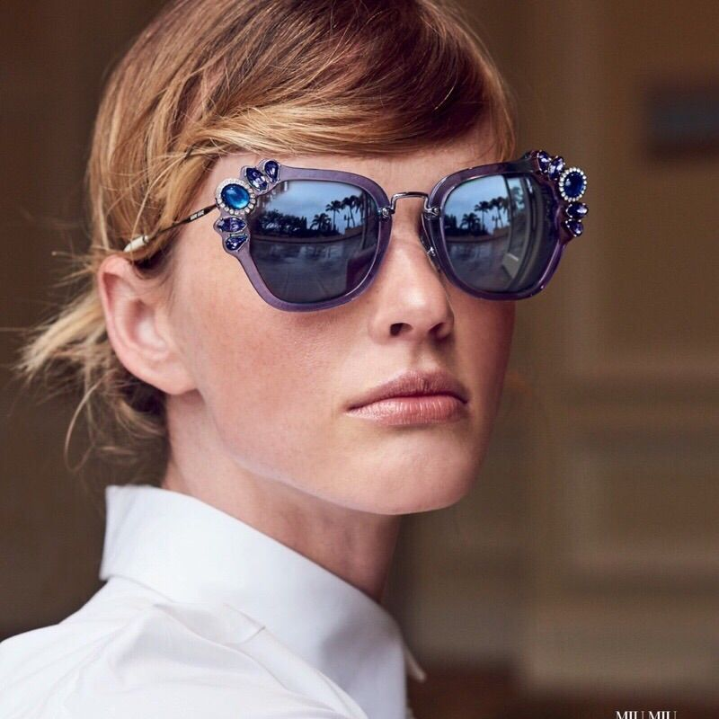 56fe91503e30 Miu Miu Smu03s Embellishment Runway Sunglasses