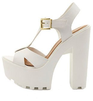 48b40d9c6b48a Charlotte Russe Chunky Lug-Soled T-Strap Sandals on shopstyle.com ...