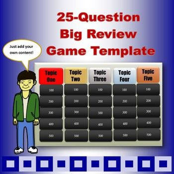 Big 25-Question Unit Review Game Template Teacher, Students and