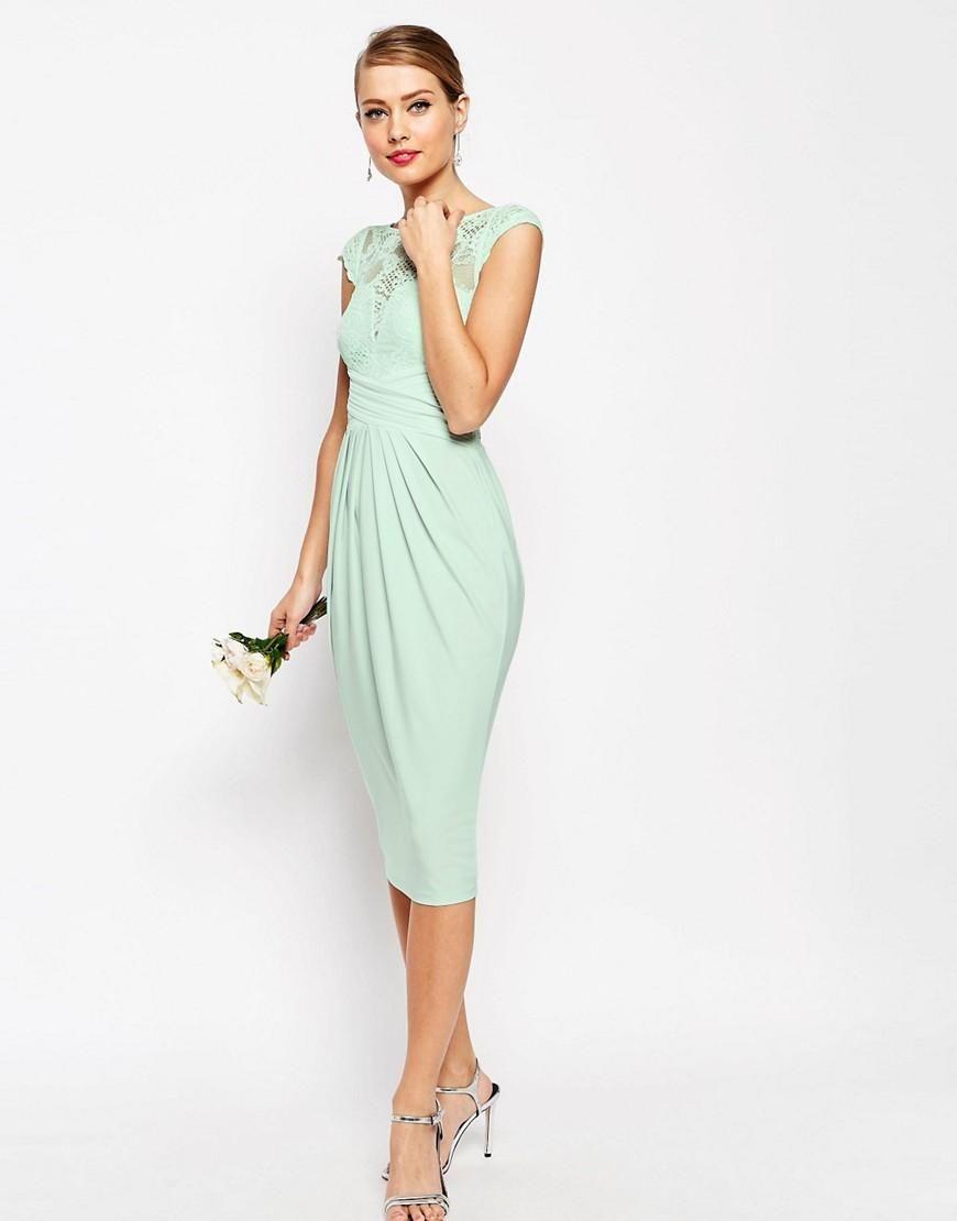 Asos tall wedding guest dresses  ASOS  ASOS WEDDING Lace Top Pleated Midi Dress at ASOS  carly