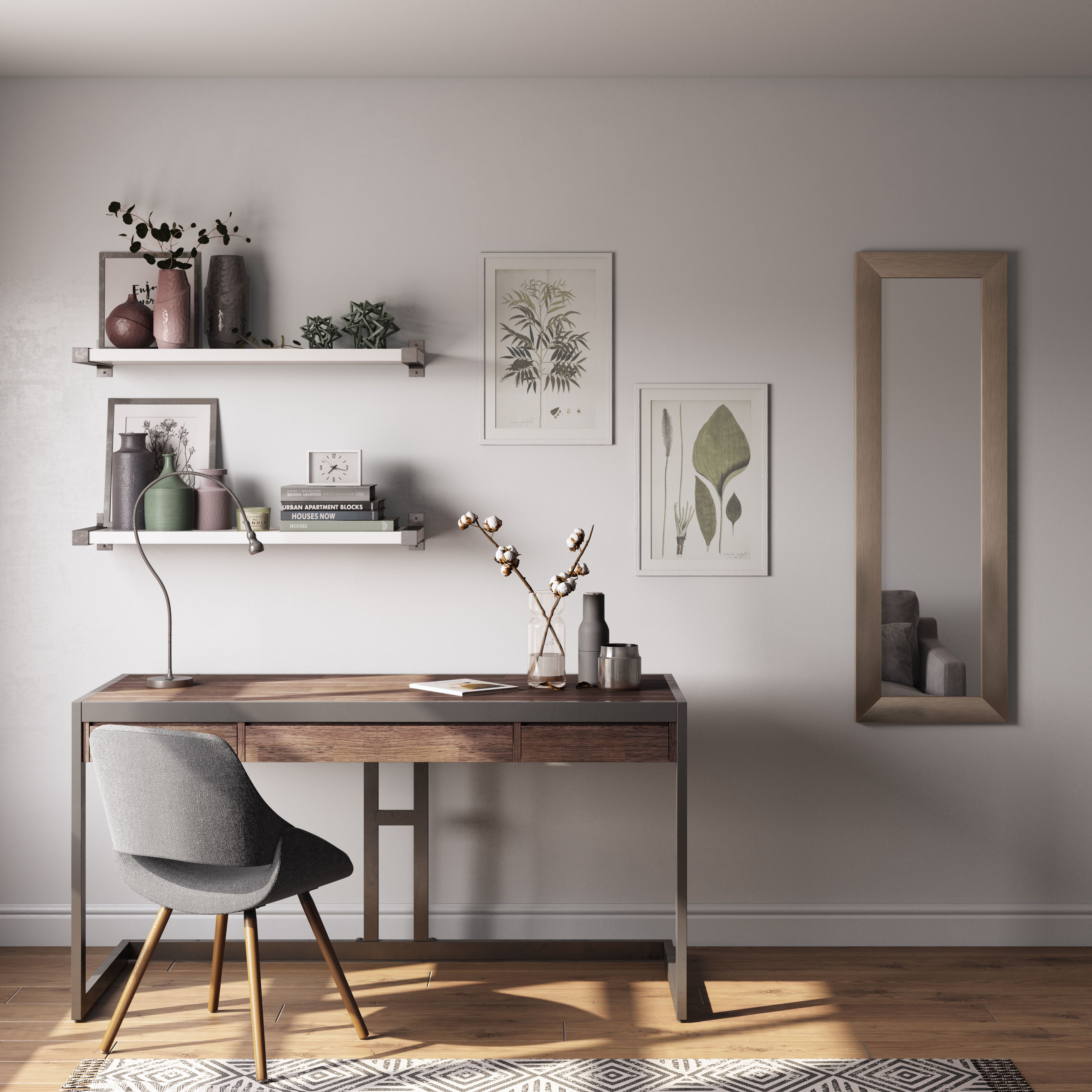 Here S A Great Example Of Clean Minimal Interior Design Using A Lot Of Our Simpli Home Furniture Find Home Office Design Home Office Decor Office Desk Decor