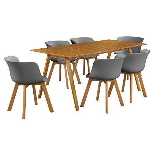 encasa® Esstisch mit 6 Stühlen Bambus\/grau 180x80 Küchentisch - küchentisch mit stühlen