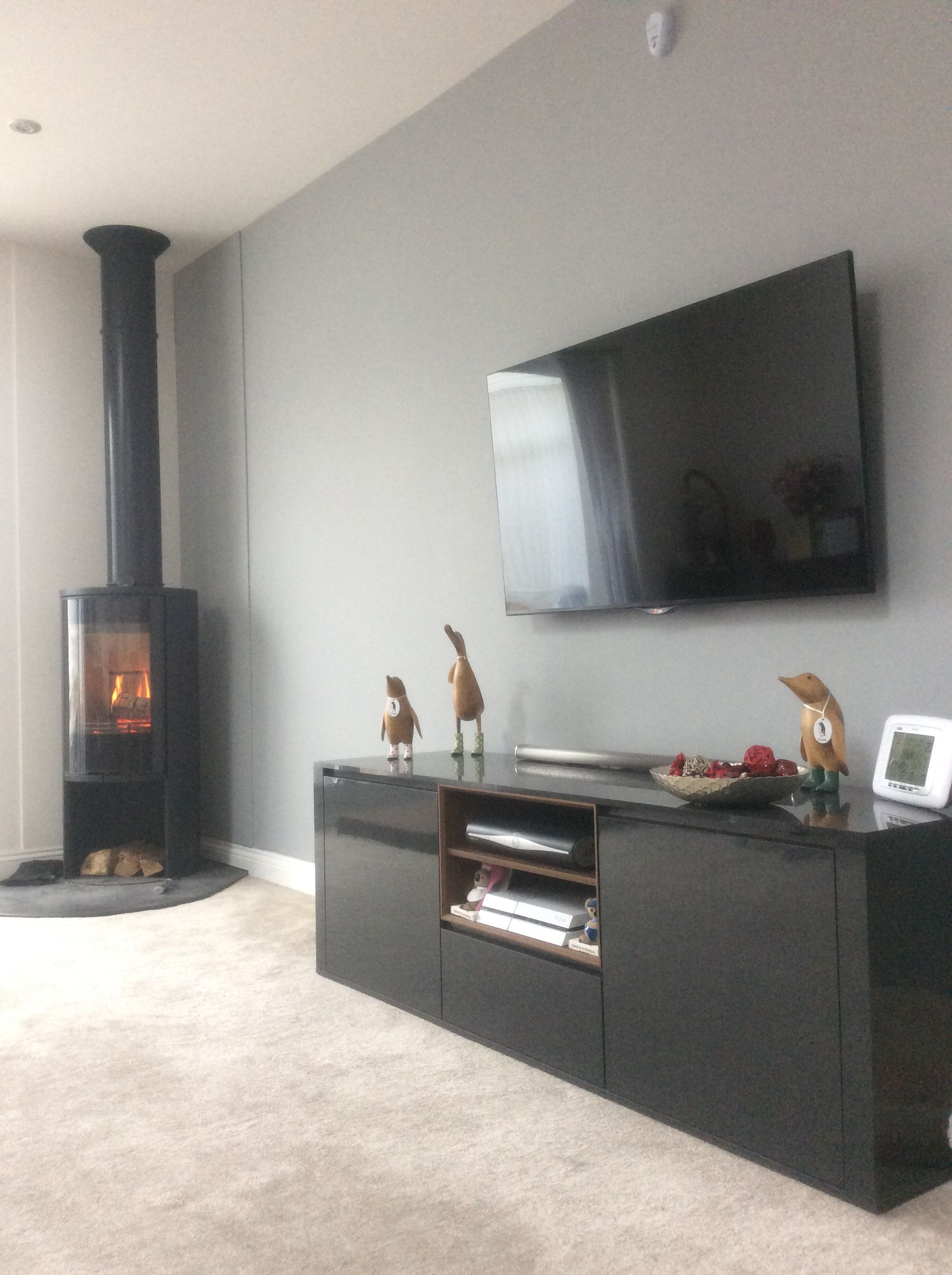 recently decorated lounge complete with corner log burner wood