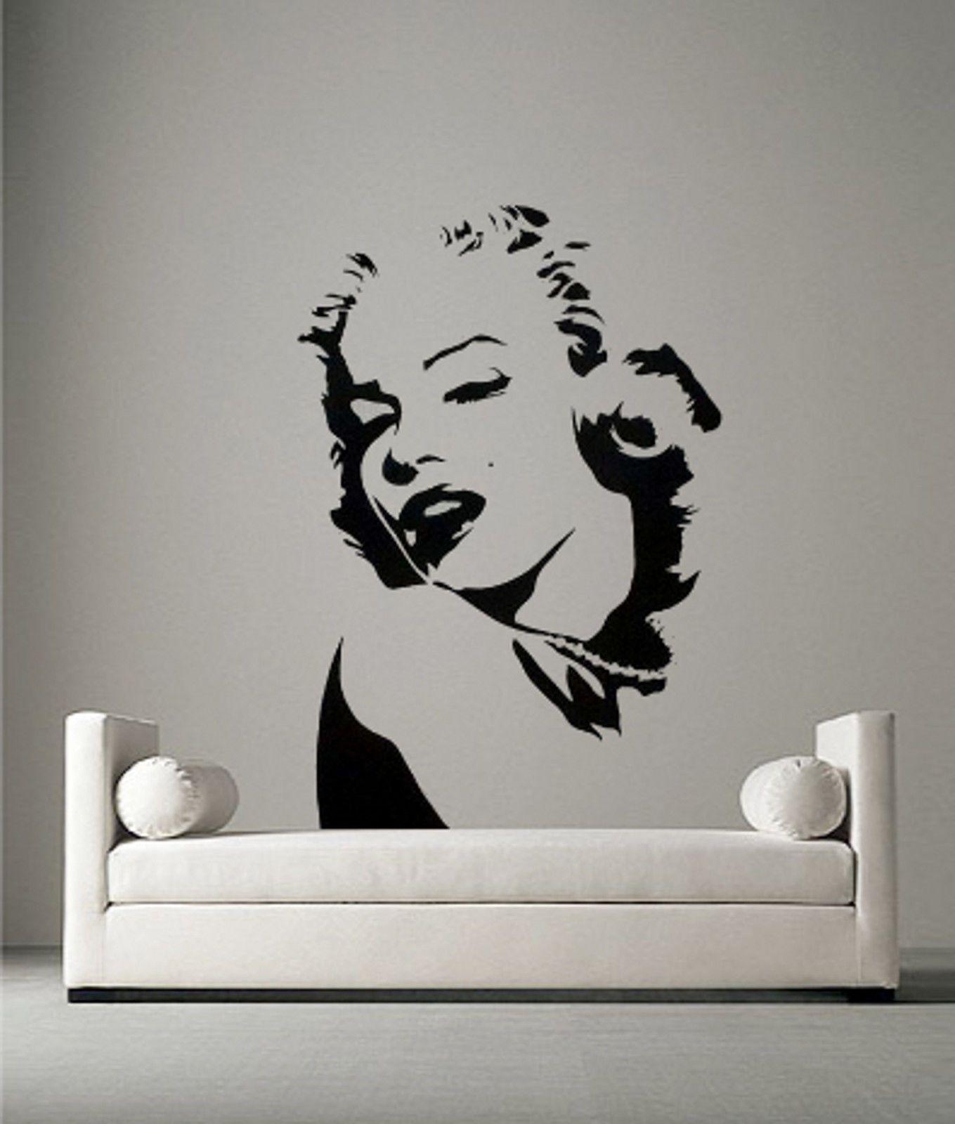 MARILYN MONROE Portrait Vinyl Wall Art Sticker Decal Bedroom Mural Stencil  Art | EBay Part 51