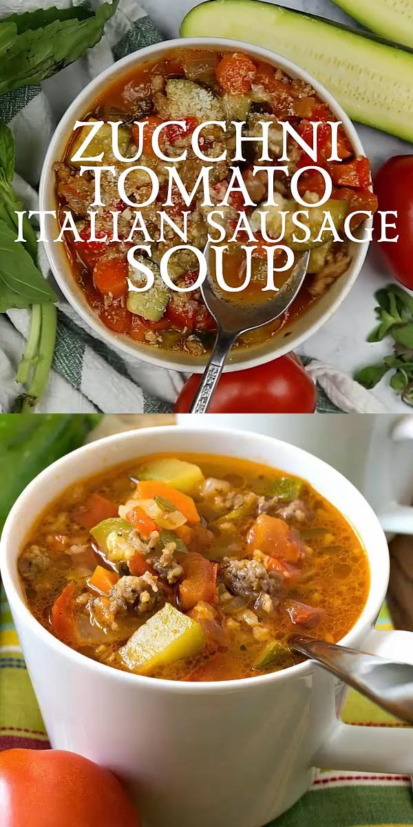 Photo of Zucchini Tomato Italian Sausage Soup