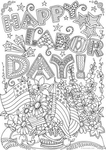 Labor Day Printable adult coloring pages, Labor day