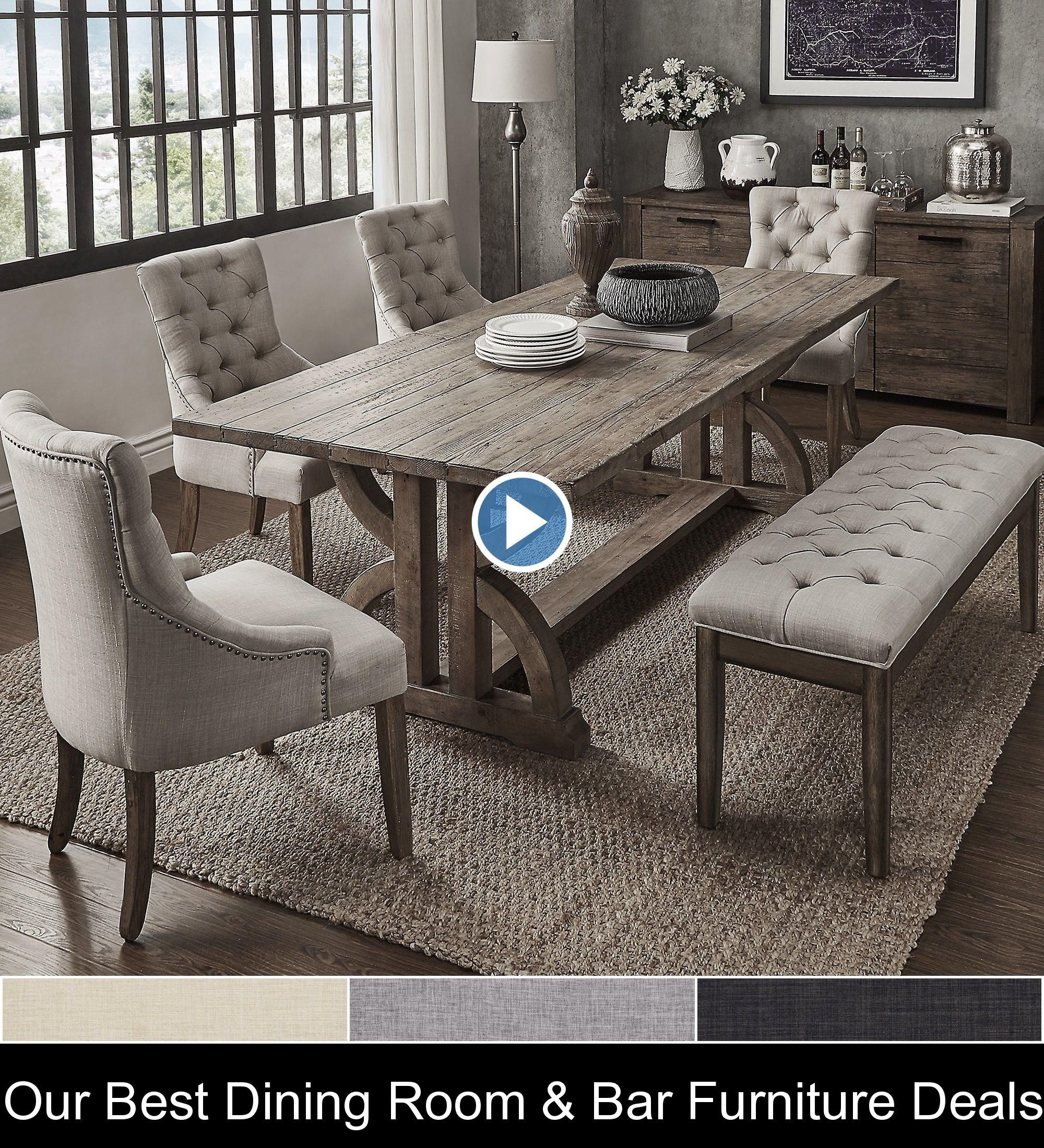 Our Best Dining Room & Bar Furniture Deals {146925} #dining #room #table #diningroomtable Paloma Salvaged Reclaimed Pine Wood 6-Piece Rectangle Dining Set by iNSPIRE Q Artisan (6-Piece Set - Grey Linen)
