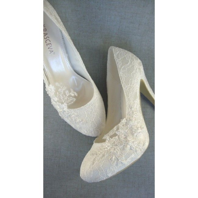 Ivory Beaded Lace Wedding Shoes