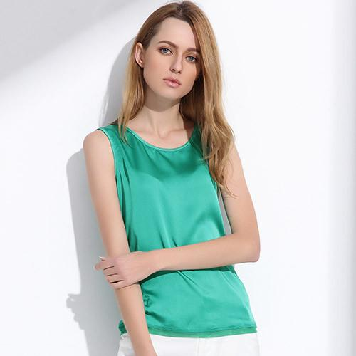 0b2ab6a84833 Women Summer Silk Tank Tops Ladies Blouses Mesh Cute Sleeveless Solid Color  O Neck Casual T Shirt Vest Tops