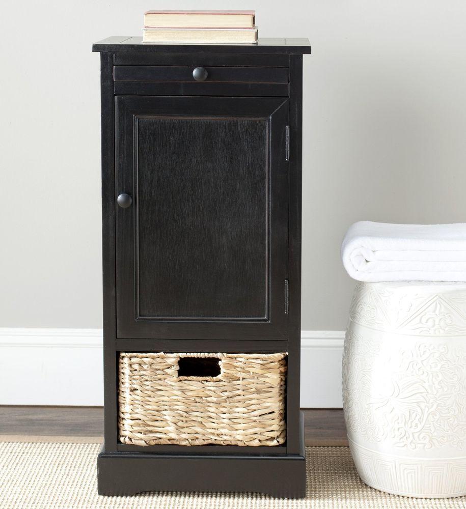 Wicker Basket Cabinet Cabinet Storage End Table Wicker Basket Distressed Black Wood Pine