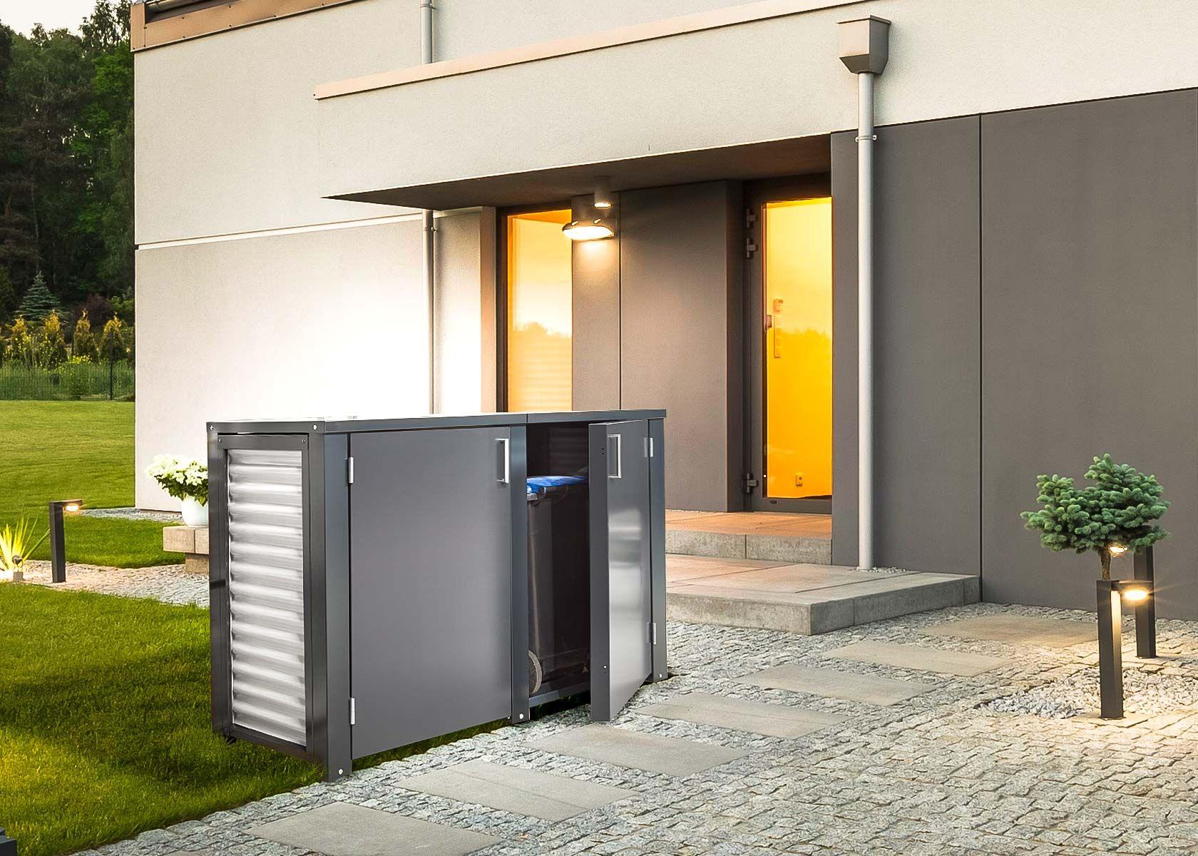 Haus design eingangstor die mülltonnenbox von siebau gliedert sich optimal in die