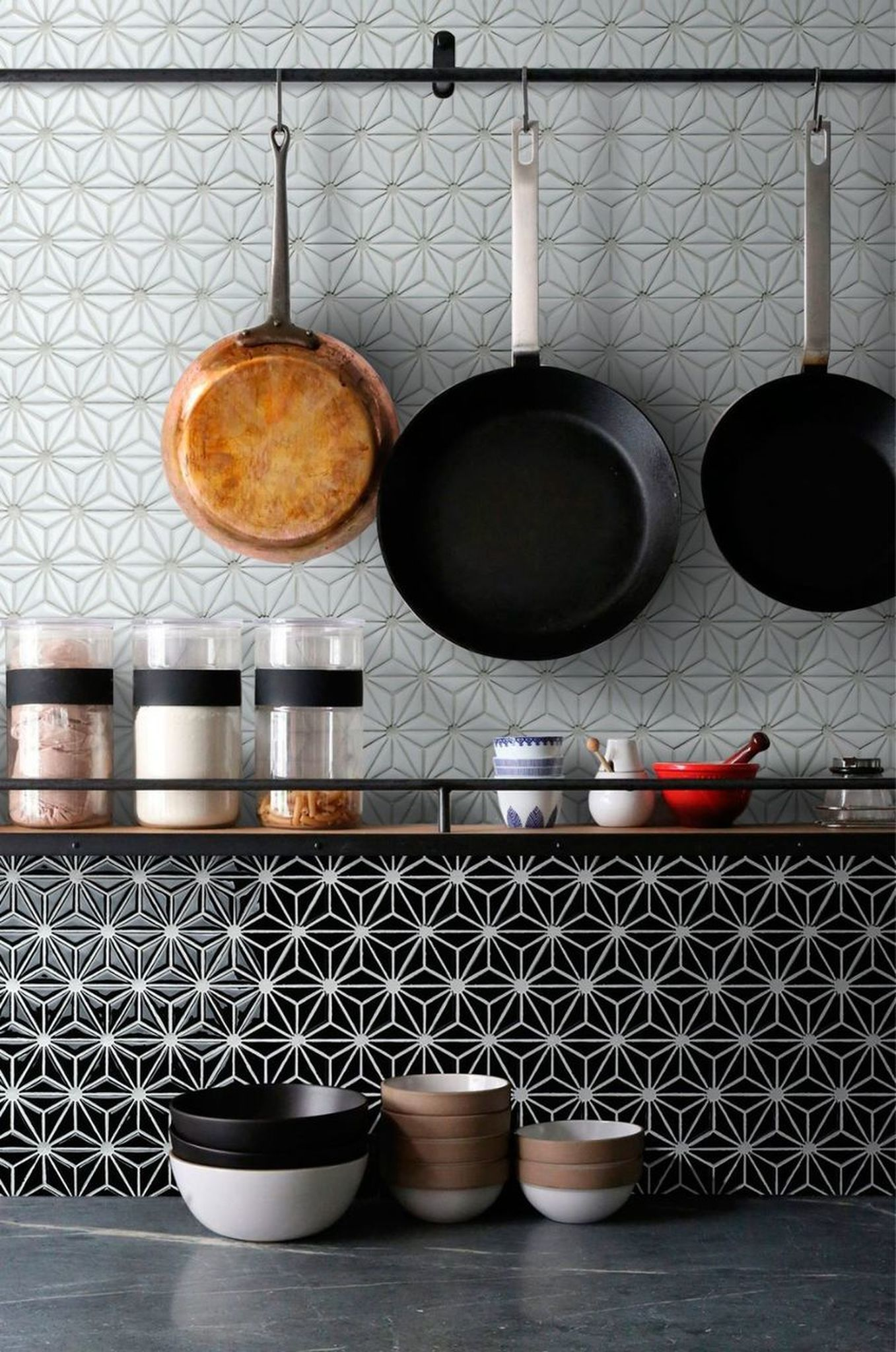 - Ceramic Mosaic Tile Flower Black In 2020 Kitchen Wallpaper