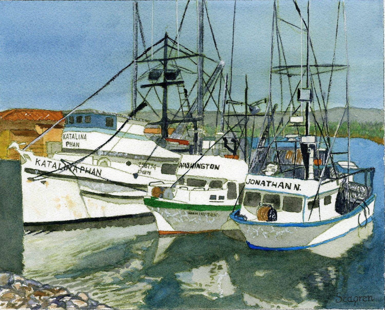 Squid Boats at Ventura Harbor #1 - 2013 8 x 10 inch watercolor