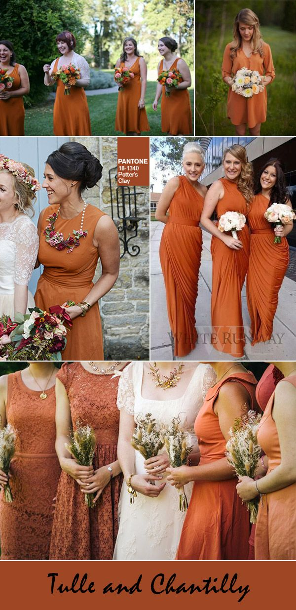 potters clay autumn and fall wedding colors for 2016 - Fall Colored Bridesmaid Dresses