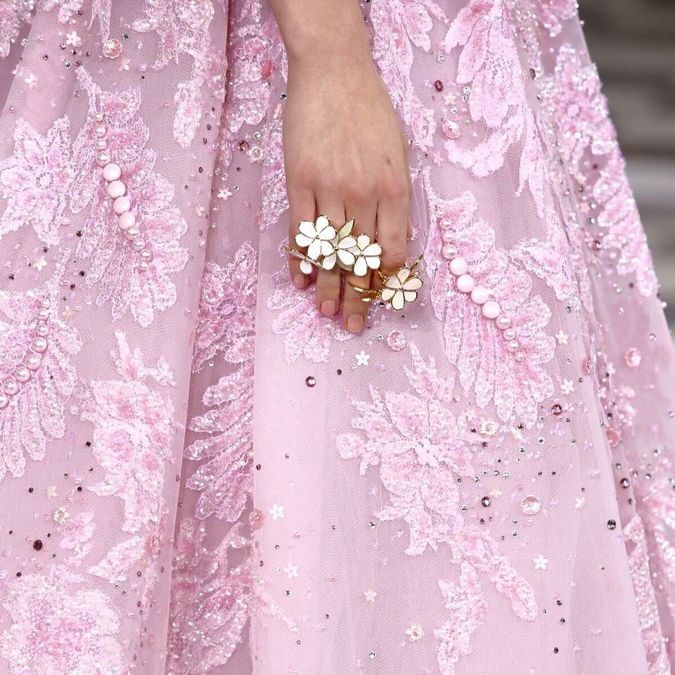 "Georges Hobeika Embroidered floral perfection- ""A Thistle in The wind"