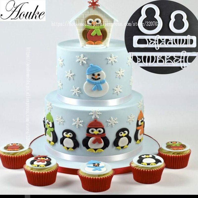 Goedkope Aouke 4 Stksset Sneeuwpop Pinguïn Vorm Plastic Cakevormen