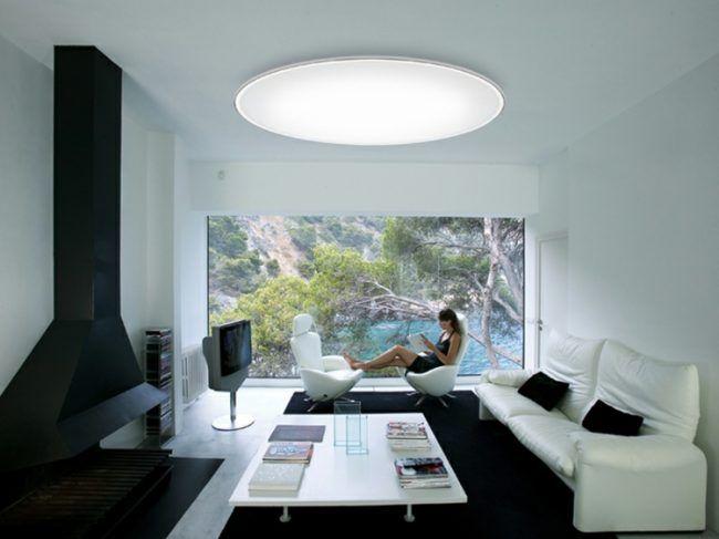 led-deckenleuchten-rund-metall-gewoelbt-wohnzimmer-weiss-wand - led deko wohnzimmer