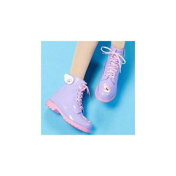 Cartoon Applique Rain Boot (1.148.415 IDR) ❤ liked on Polyvore featuring shoes, boots, ankle booties, pastel, ankle boots, footware, purple ankle boots, platform ankle boots, rain boots and bootie boots