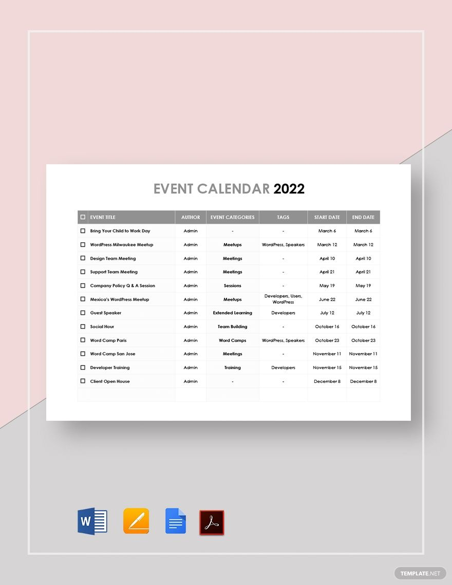 Printable Event Calendar Template Free Pdf Google Docs Word Apple Pages Template Net Event Calendar Template Calendar Template Event Calendar Calendar of events template word