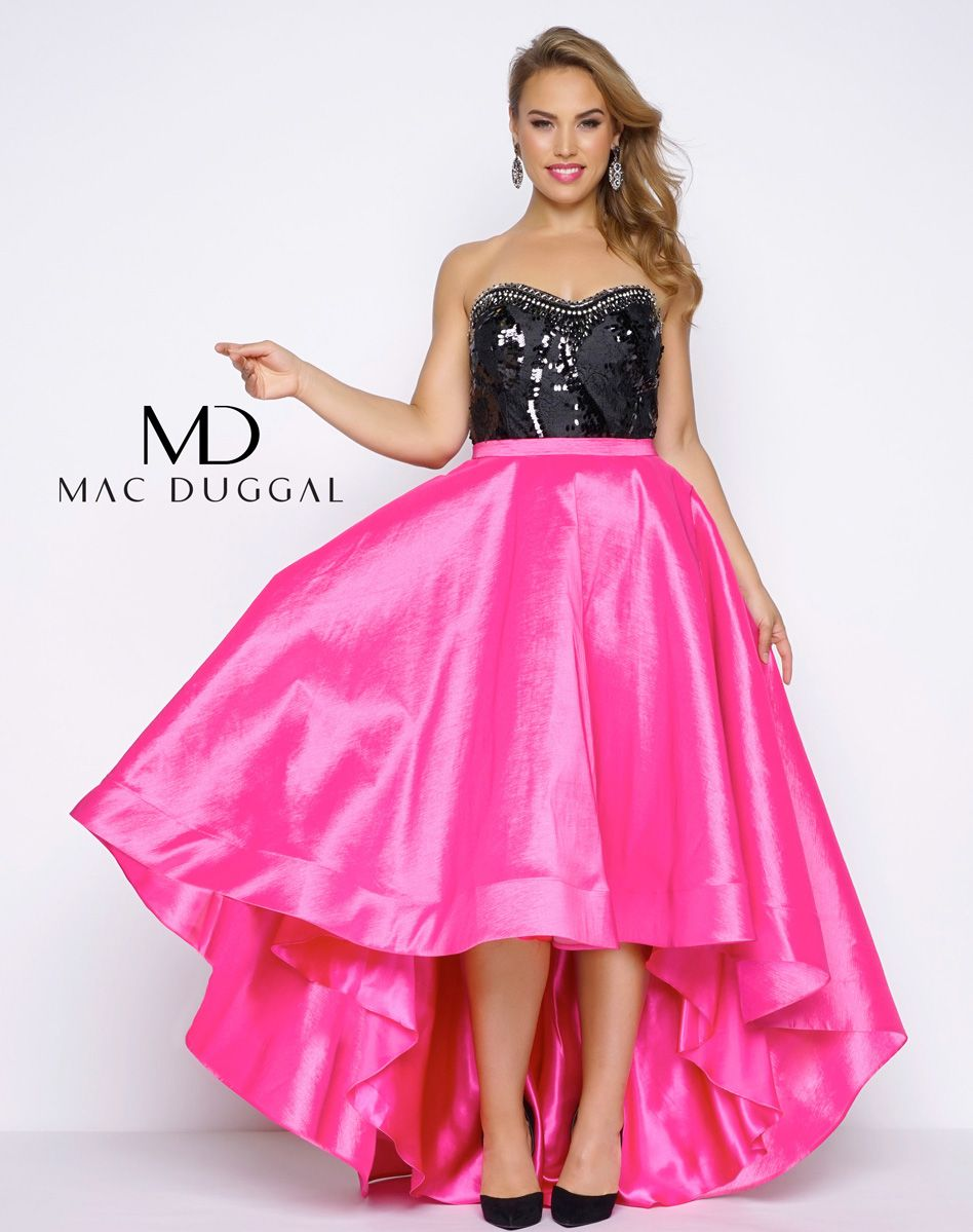 Fabulouss hot pink and black high low plus size prom gown | Prom ...
