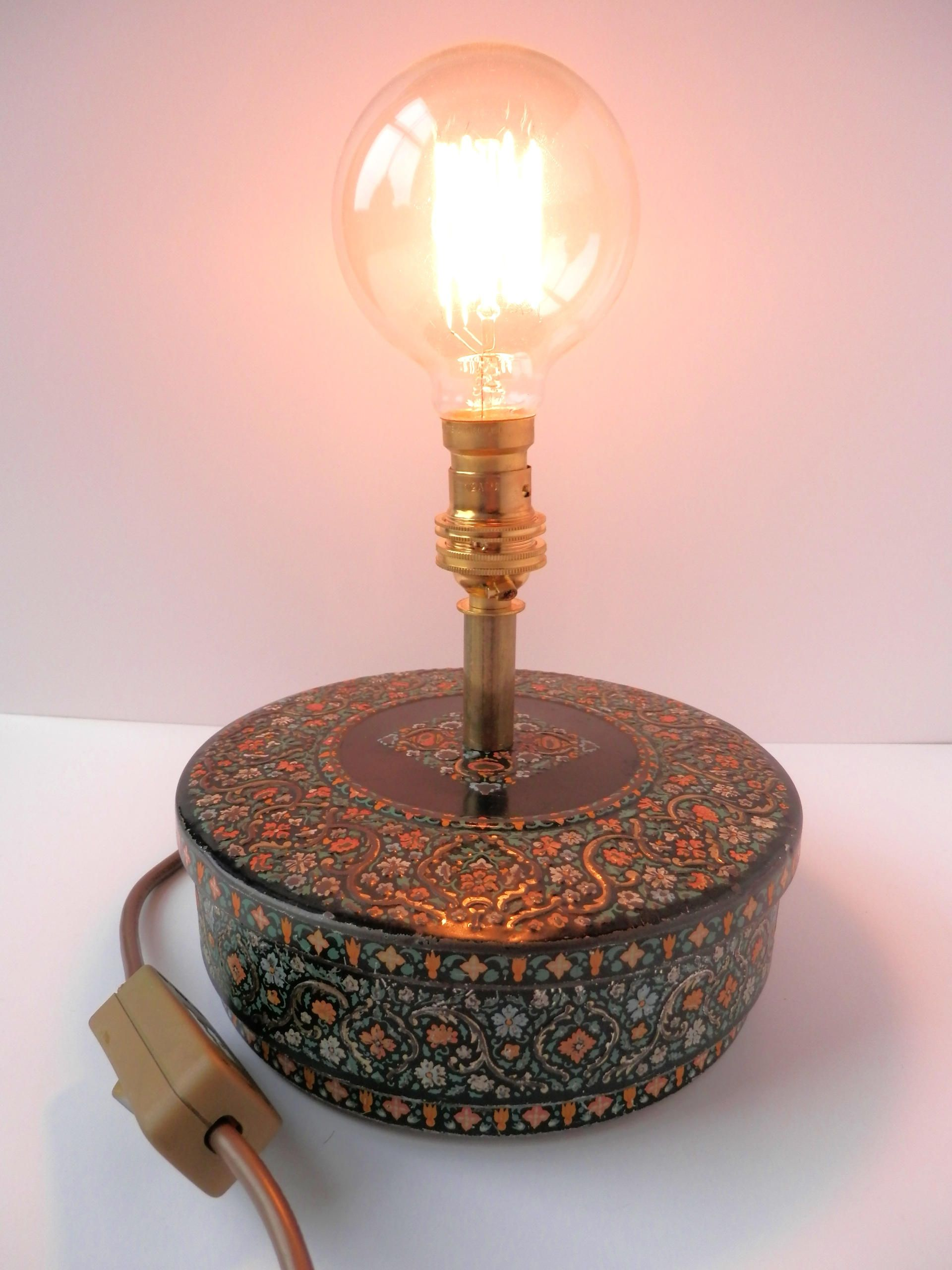 Grannys vintage button tin handmade table lamp desk lamp grannys vintage button tin handmade table lamp desk lamp edison bulb brass stem brass bulb holder geotapseo Choice Image